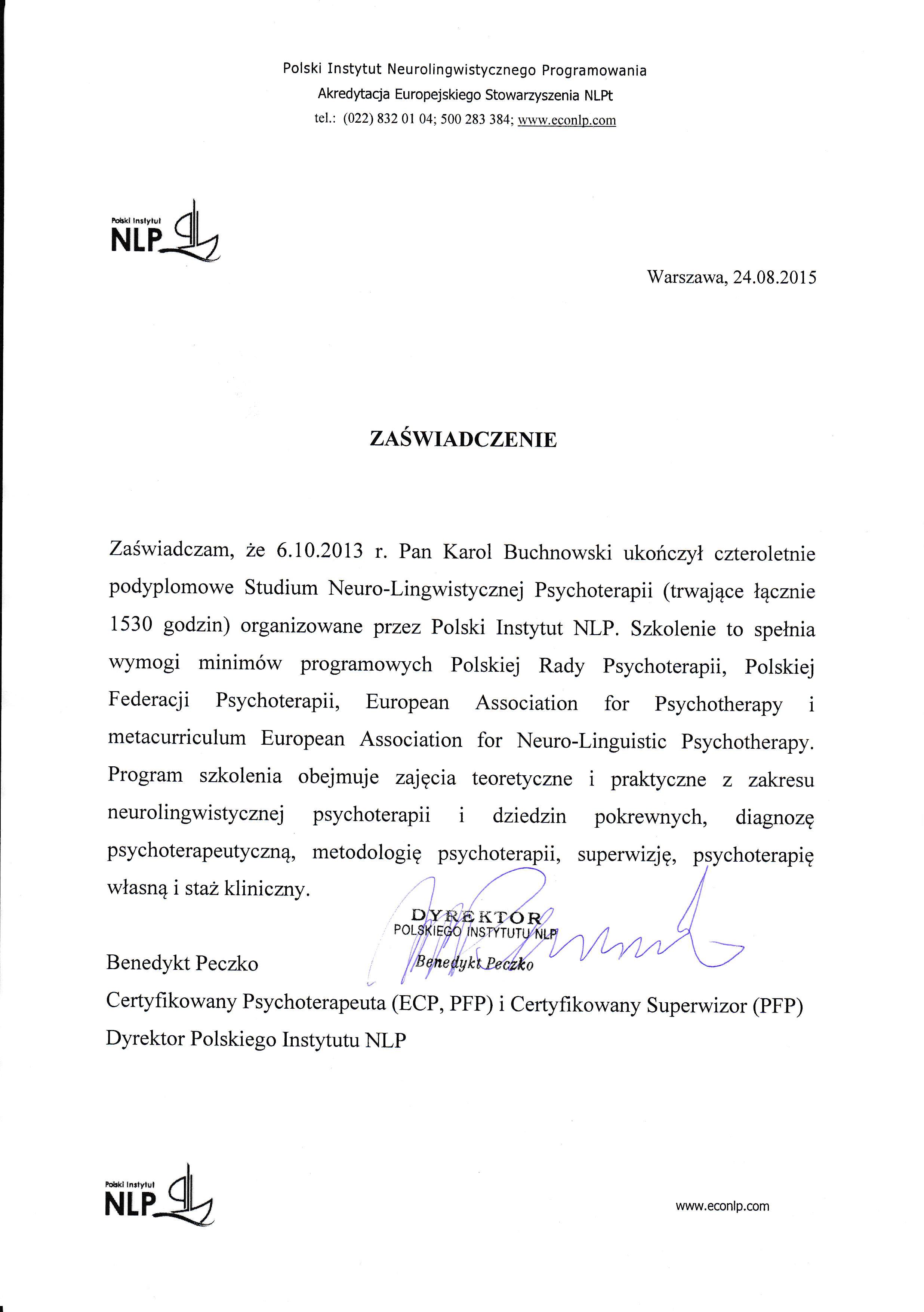 Zaświadczenie o ukończeniu SNLPt - Karol Buchnowski